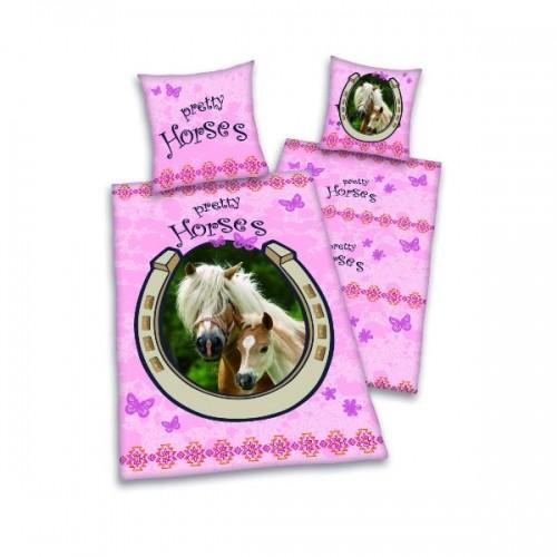 Posteljnina konji roza